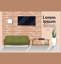 modern loft living room interior with couch tv vector image