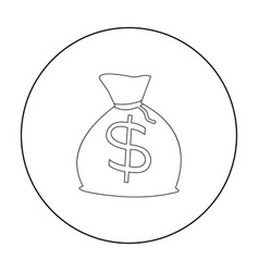 Money bag icon outline singe western icon from vector