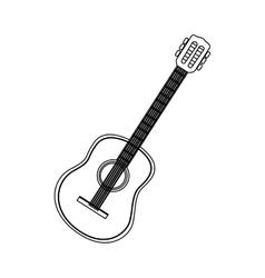 monochrome contour with acoustic guitar vector image