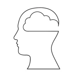 Monochrome silhouette with human head with cloud vector