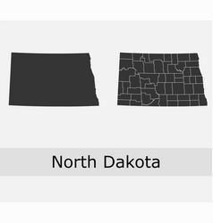 north dakota map counties outline vector image