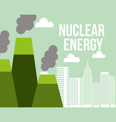 nuclear energy power plant city ecology vector image