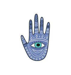 Palm-shaped amulet evil eyes icon vector