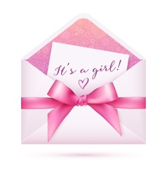 Pink bashower envelop with bow vector
