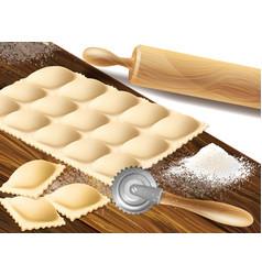 Process making ravioli vector