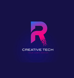 R initial letter logo design with digital pixels vector