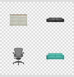 realistic cupboard divan sofa and other vector image