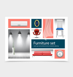 realistic house interior elements collection vector image