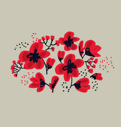Red floral drawing in freehand style vector