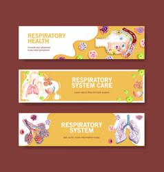 Respiratory banner design with human anatomy vector