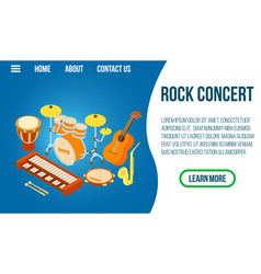 Rock concert concept banner isometric style vector