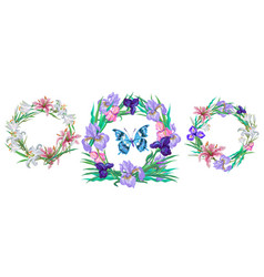Romantic floral collection of wreaths with vector