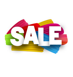 sale poster with brush strokes vector image