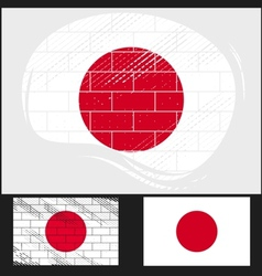 Scratched flag of Japan vector