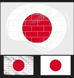 Scratched flag of Japan vector image