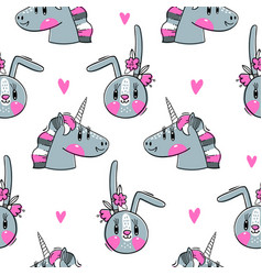 seamless pattern with faces bunny and rainbow vector image