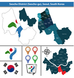 seocho district seoul city south korea vector image