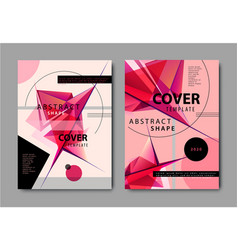 set abstract geometric covers red facet vector image