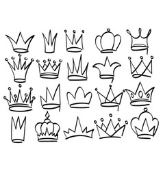 set crowns drawn with a marker collection vector image