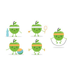 set of cute fitness green apple characters vector image