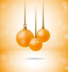 Set of three gold christmas balls with snowflakes vector