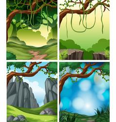 Set of tropical rainforest background vector