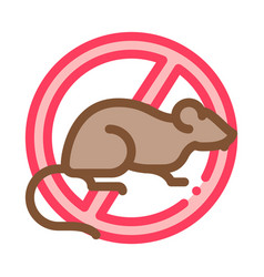 Sign against rat icon outline vector