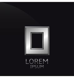 Silver O Letter emblem vector