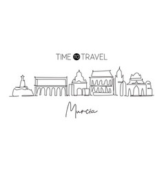 single continuous line drawing murcia city vector image