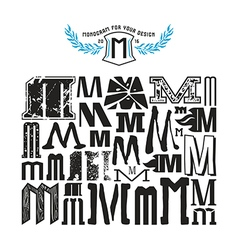 Stock set of monograms and initial letter m vector