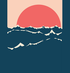 sunset over sea minimalism vector image
