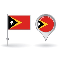 Timor-Leste pin icon and map pointer flag vector image