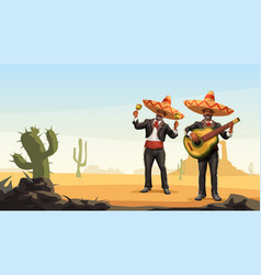 Two male mexican mariachi playing music outdoor vector