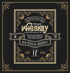 Vintage frame label for whiskey and beverage vector image