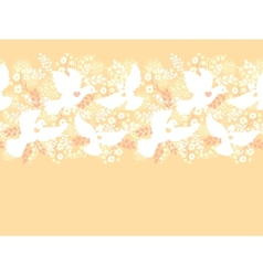 Wedding doves among flowers horizontal seamless vector image