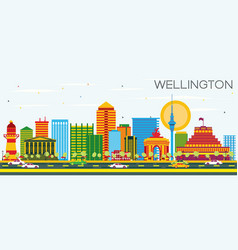 Wellington skyline with color buildings and blue vector