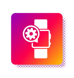 White smartwatch and gear icon isolated on white vector
