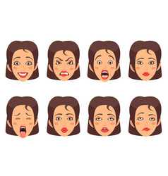 Woen facial gestures set vector