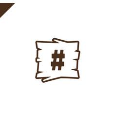 wooden alphabet blocks with symbol hash in wood vector image