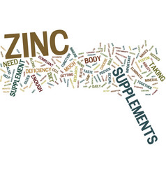 Zinc supplements for your body text background vector