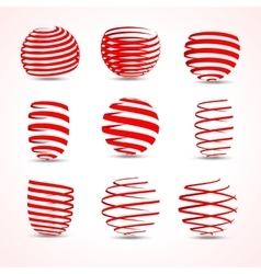 3d vortex twirl arrow ribbons set for your vector image
