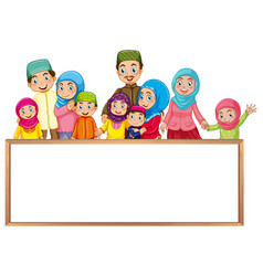 board template with muslim family in colorful vector image vector image