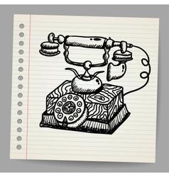 Doodle vintage phone vector image vector image