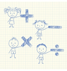 Kids with mathematical signs vector image vector image