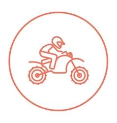 Man riding motocross bike line icon vector image vector image