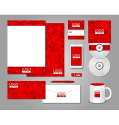 Red corporate identity template design vector image