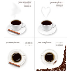 four design coffee backgrounds vector image vector image