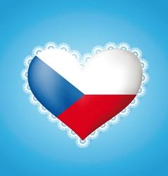 Heart shape Czech flag vector image vector image