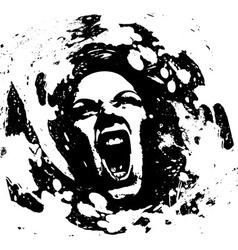 ink girl vector image