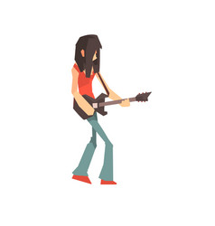 Male rock musician character playing guitar vector